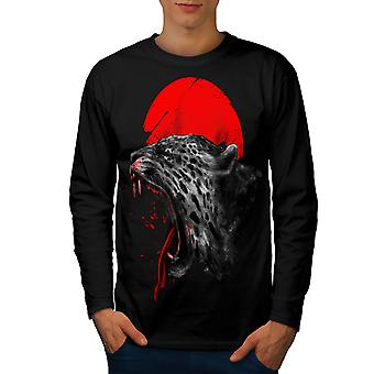 Panther Sun Red dyr menn BlackLong ermet t-skjorte | Wellcoda