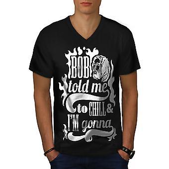 Bob Marley Weed Celebrity Men BlackV-Neck T-shirt | Wellcoda