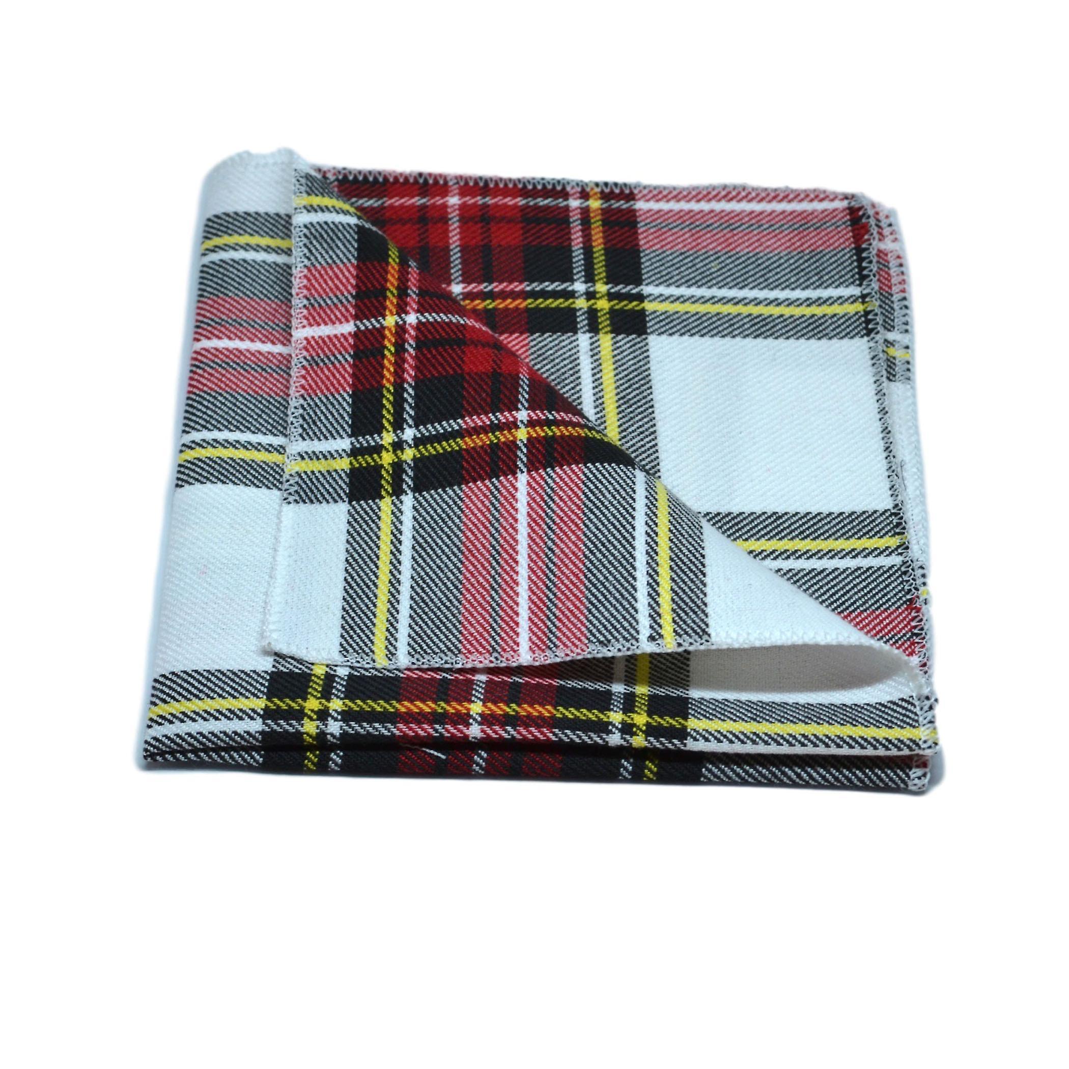 Traditional White & Red Tartan Tie & Pocket Square Set, Check, Plaid