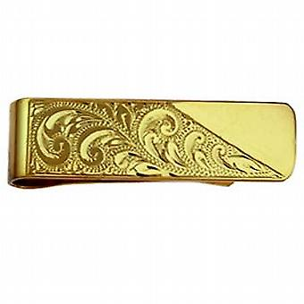 9ct Gold 15x52mm hand engraved Money Clip