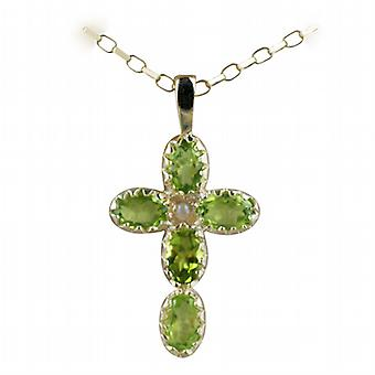 9ct Gold 25x16mm Cross set with 5 Peridot and 1 Pearl on a belcher Chain 24 inches