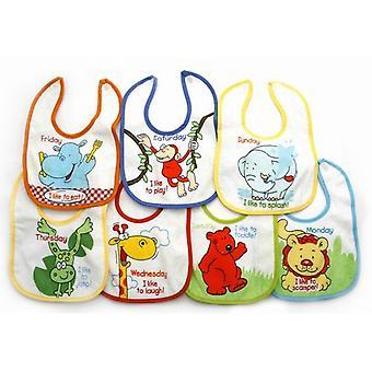 Neugeborenes Baby Boy Lätzchen, Tiere 7 Tage der Woche Baby Lätzchen (Packung mit 7)