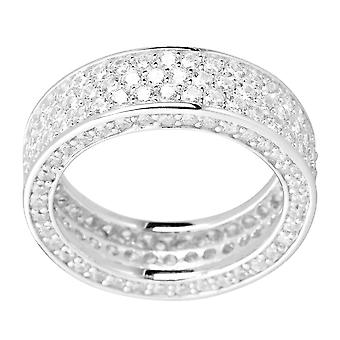 Sterling 925 Silver pave ring - THREE CZ LINES