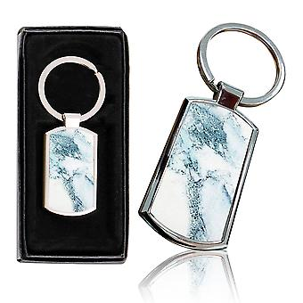 i-Tronixs - Premium Marble Design Chrome Metal Keyring with Free Gift Box (2-Pack) - 0021
