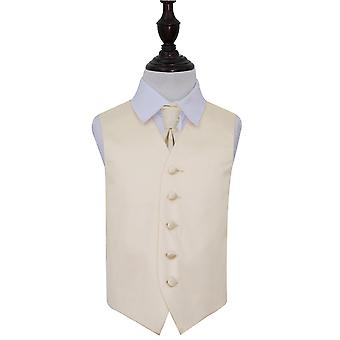 Champagne Plain Satin Wedding Vest & Cravat Set voor Jongens