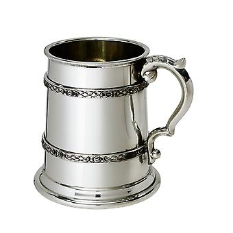 Keltische dubbele Banded Pewter Tankard - pint