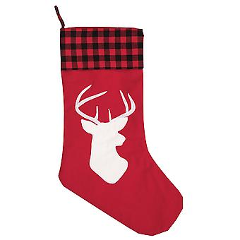 Red Buffalo Plaid Check Deer Christmas Holiday Stocking