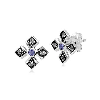 Art Deco Style Pyöreä Tanzanite & Marcasite Gothic Style Cross Studs 925 Sterling Silver 214E859709925