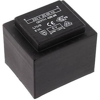 Gerth PTF421202 PCB mount transformer 1 x 230 V 2 x 6 V AC 8 VA 666 mA