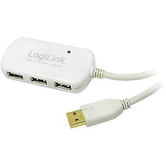 LogiLink USB 2.0 kabel verlenging [1 x USB 2.0 connector A - 4 x USB 2.0 poort A] 12 m wit vergulde connectoren, UL-Goedkeuring