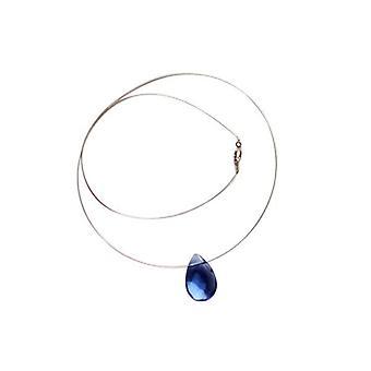 Kæde sølv blå Topaz GIOIA blå Topas halskæde drop 925 sølv