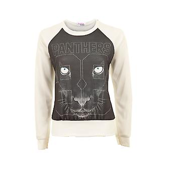 Ladies Black White Long Sleeve Scoop Neck Panther Top Print Womens Jumper