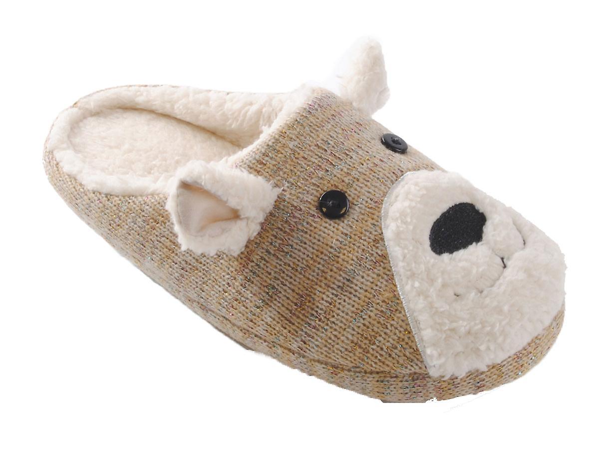 SlumberzzZ Womens Knitted 3D Rabbit Design Mule Slippers