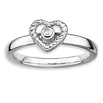 925 Sterling Silver Bezel Polished Rhodium plated Stackable Expressions Love Heart Diamond Ring Jewelry Gifts for Women