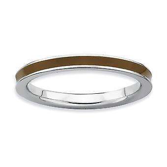 925 Sterling hopea kiillotettu pinottavat ilmeet ruskea emaloitu 2,25mm rengas korut lahjat naisille - rengas koko: 5 to