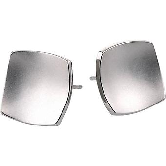 Ti2 Titanium Square Domed Stud Earrings - Natural