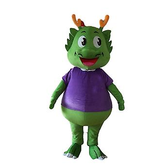SPOTSOUND of green dinosaur mascot, dressed in purple, very warm