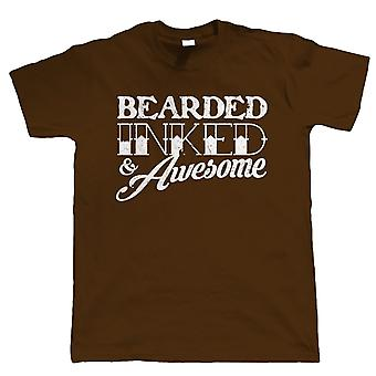 Barbe encré et Awesome, Mens Funny Beard T Shirt - Hipster Tattoo Gift Him Dad