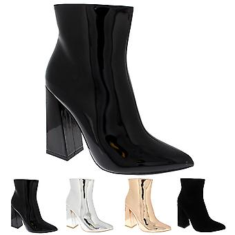 Womens Shiny Block Heel Fashion Chic Elegant Sassy Mid Heel Ankle Boots UK 3-10