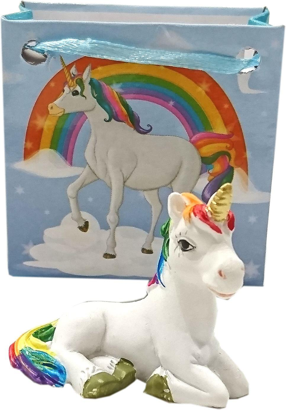 Enchanted Rainbow Unicorn in Mini Gift Bag (Blue)