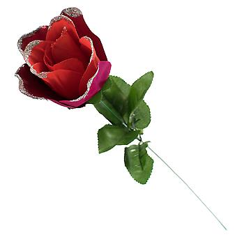 TRIXES Artificial Rose - Single Stem- Gift Wrapped – Red with Glitter -Tipped Petals -50cm