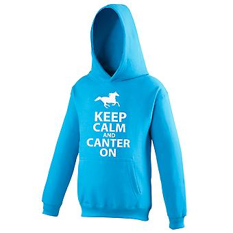 Kids Sapphire Blue Keep Calm and Canter On Hoodie