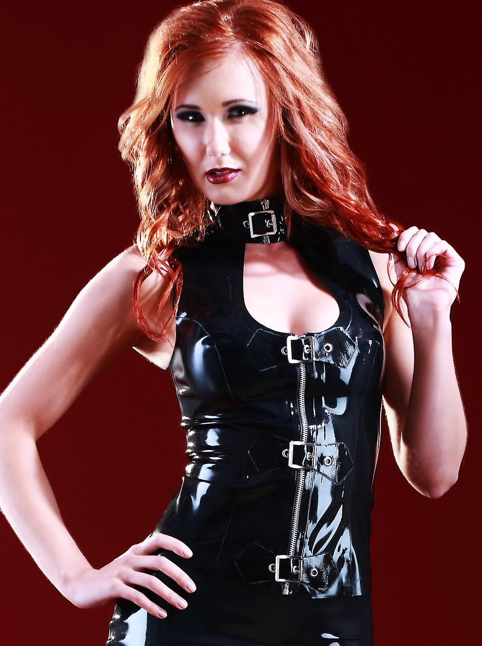 Skin Two Clothing Women's Keyhole Top Sleeveless in Latex Rubber Black