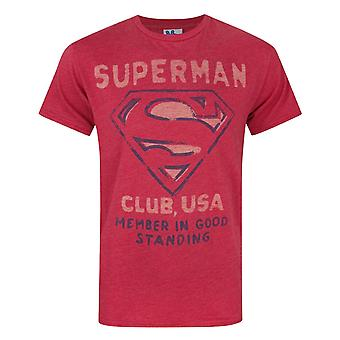 Junk Food Superman Club USA Men's T-Shirt Red