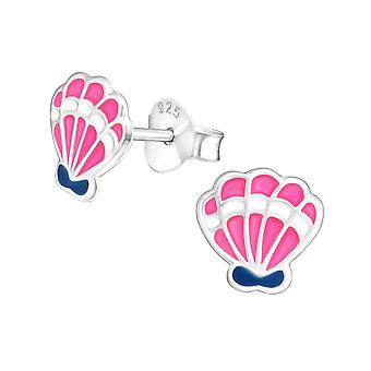 Shell - 925 Sterling Silver Colourful Ear Studs - W17679x