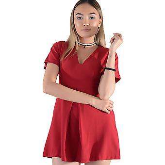 Lovemystyle rode korte mouw v-hals Skater jurk - monster