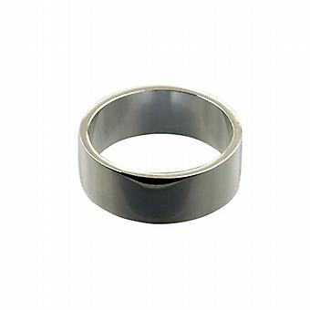 9ct White Gold 8mm sima lapos Karikagyűrű méret Z