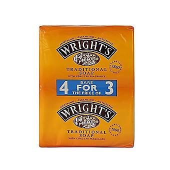 Wrights Coal Tar Traditional Soap 125g (4 Soaps for the price of 3)