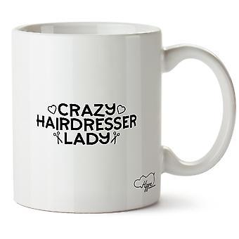 Hippowarehouse Crazy frisør Lady trykt krus Cup keramiske 10 Unzen