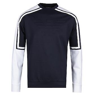 Emporio Armani reglanowym rękawem granatowy & biały bluza