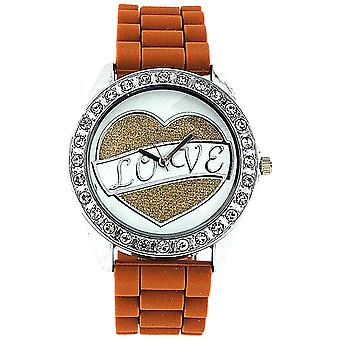 Ashley Love Glitter Heart Diamante Dial Brown Rubber Strap Ladies Watch