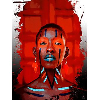 African Woman Poster Art Wall Decor Red Beauty (18x24)