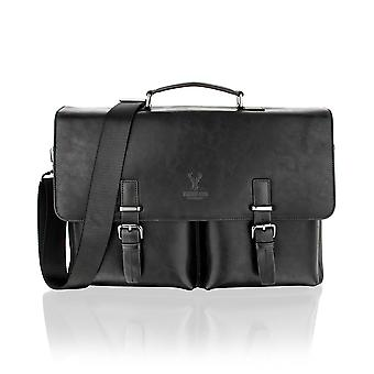 Black Satchel Briefcase Flap Over, 15.0