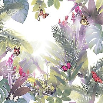 Groene tropische Leaf Palm boom behang Butterfly Amazonia lavendel Arthouse