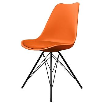 Fusion Living Eiffel Inspired Orange Plastic Dining Chair With Black Metal Legs