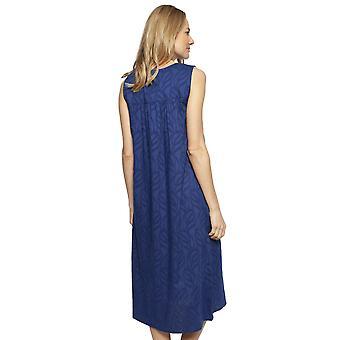 Cyberjammies 1323 vrouwen Nora Rose Thea Navy blauw katoen lange Nightdress