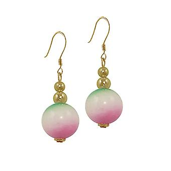 Eternal Collection Essentia Green Pink White Malaysian Jade Gold Tone Drop Pierced Earrings