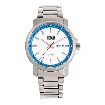Reign Helios Automatic Bracelet Watch w/Day/Date - Silver/White