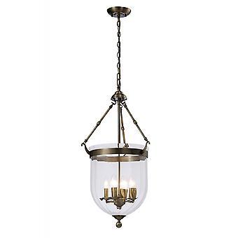 Diyas Aubrey Pendant 4 Light Antique Brass/Glass
