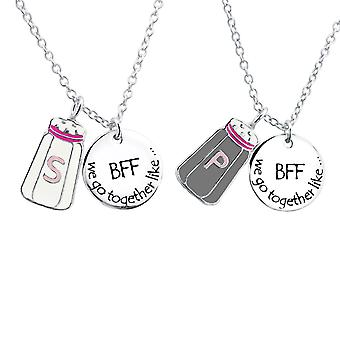 Salt And Pepper Best Friends Necklace Set - 925 Sterling Silver Necklaces - W30447X