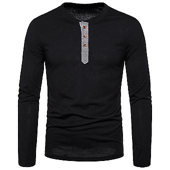 Allthemen Men's T-Shirt Round Collar Classic Long Sleeve Shirt