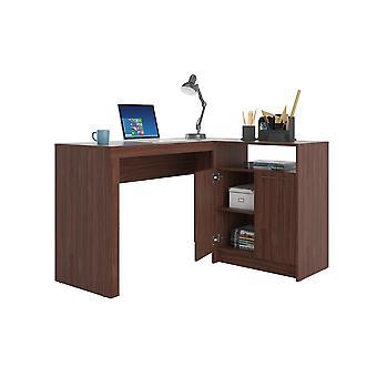 Manhattan comfort  kalmar l -shaped office desk with inclusive in dark brown
