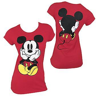 מיקי מאוס פרונט & הנשים האחורי חולצת טי ' חולצה אדומה