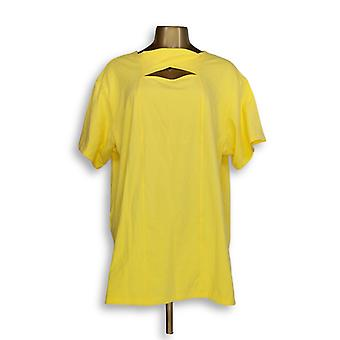 Denim & Co. Women's Top Jersey Round Neck Yellow A352975