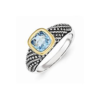 925 Sterling Silver With 14k Lt Swiss Blue Topaz Ring Jewelry Gifts for Women - Ring Size: 7 to 8