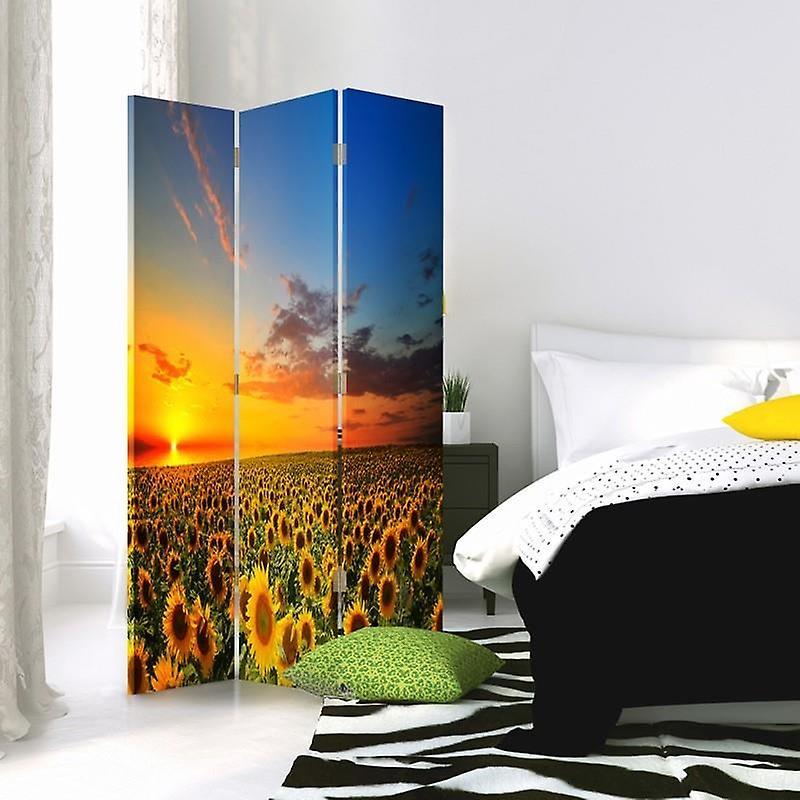 Diviseur de chambre, 3 panneaux, unilatéral, toile, paysage avec des tournesols